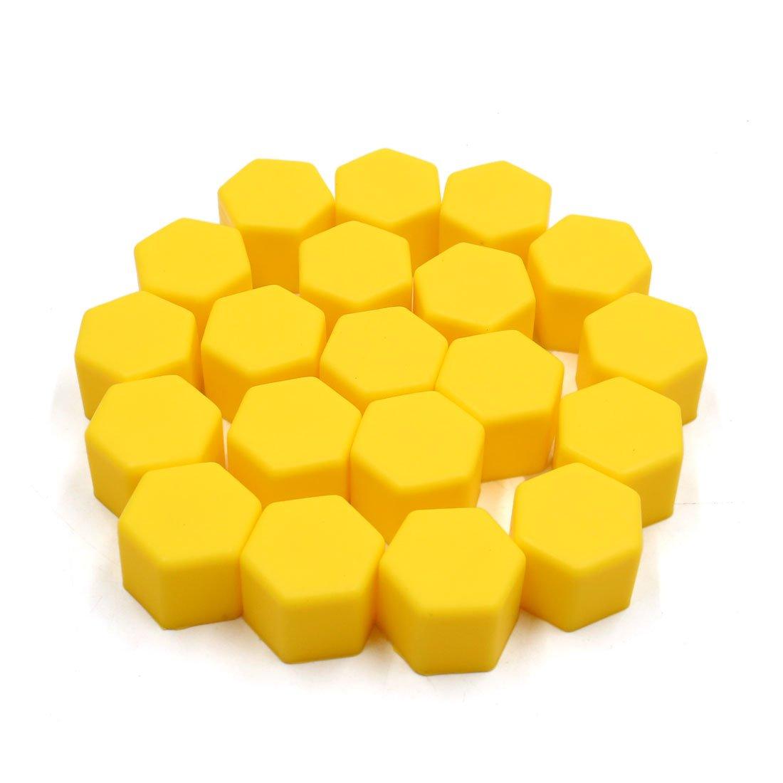 sourcingmap 20 Pcs 17mm Yellow Silicone Car Wheel Hub Screw Cover Bolt Nut Cap