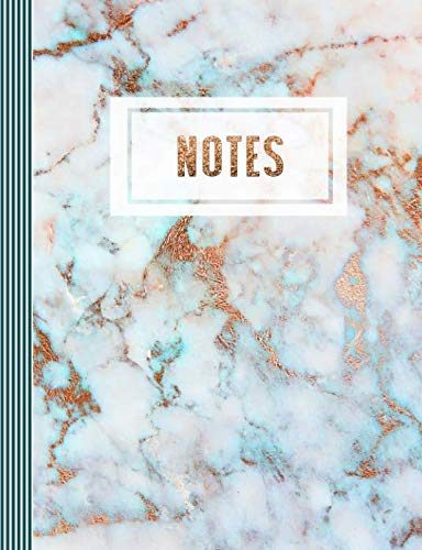 (Notes: Composition Notebook (Large) - Ruled Lined Journal Paper, Writing And Journaling Book - Turquoise Rose Gold Marble)