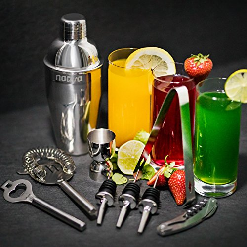 Home Cocktail Bar Set by Naava – Stainless Steel 10 Piece Mixology Tool Kit – With Bartender's Professional Shaker, Strainer, Jigger, Liquor Pourers and More – Attractive Gift Box and 100% Guarantee by Naava (Image #2)