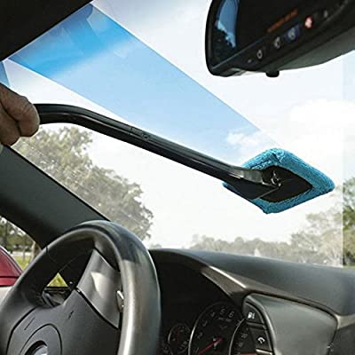 FULL WERK Microfiber Windshield Cleaner Multipurpose Microfiber Car Duster Windshield Cleaner Auto Glass Window Brush with Long Handle and Pivoting Head: Automotive