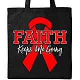 Inktastic - Red Ribbon Faith Keeps Me Going Tote Bag Black