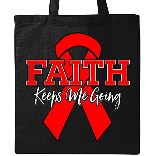 Inktastic - Red Ribbon Faith Keeps Me Going Tote Bag Black by inktastic