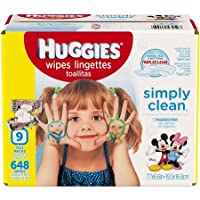 Huggies Simply Clean Baby Wipes, Unscented, Refill (Packaging May Vary), 216 ...