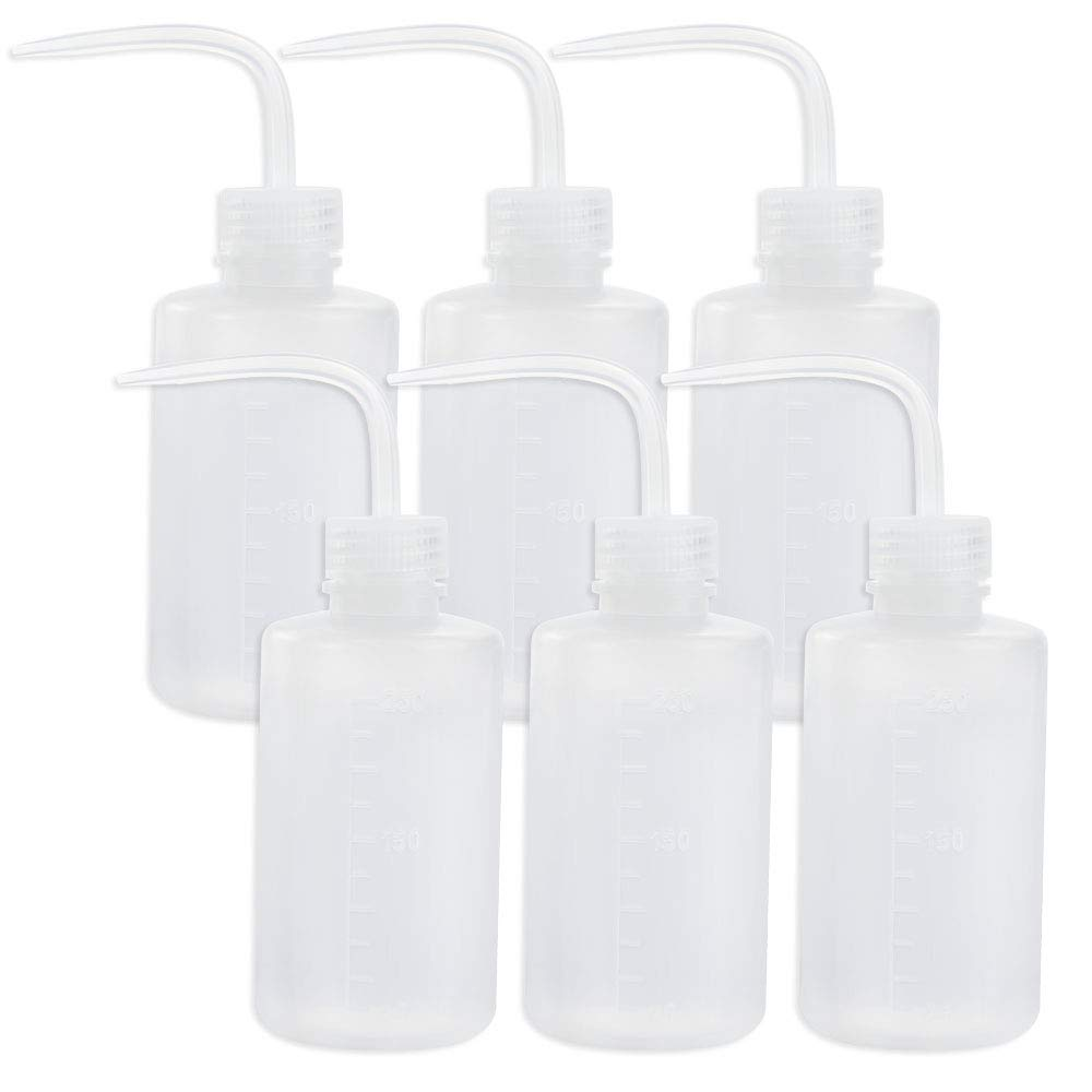 Safety Wash Bottle Squeeze Bottle LDPE with Narrow Mouth 250ml/8.5oz, Pack of 6 by DEPEPE