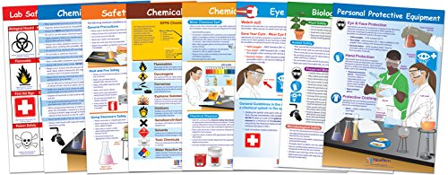 NewPath Learning Safety in The Lab Bulletin Board Chart Set (Pack of 8)