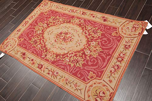 4'x6' Fuschia Tan Rose, Green, Multi Color Hand Woven French Aubusson Needlepoint Area Rug Wool Traditional Design Oriental Rug - ORH10995