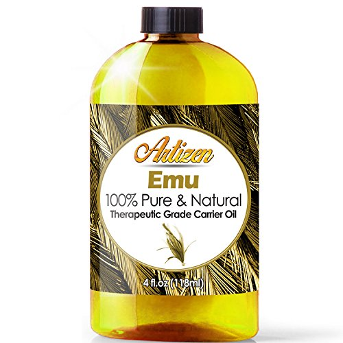 100% Pure Emu Oil by Artizen (HUGE 4OZ BOTTLE) - Premium Skin & Hair Moisturizer - Natural Hair Strengthener to Help Prevent Hair Loss - Perfect Additive to Shampoo, Conditioner, Soap, and (Emu Oil)