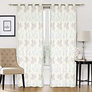 Elite Barn Classic Flower Design Jacquard Cotton Grey and Light Blue Pair of Curtains, 270cm x 136cm