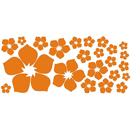 ufengke® 23-Piece Small Flowers DIY Wall Decals, Living Room Bedroom Removable Wall Stickers Murals, Orange - Removable Room
