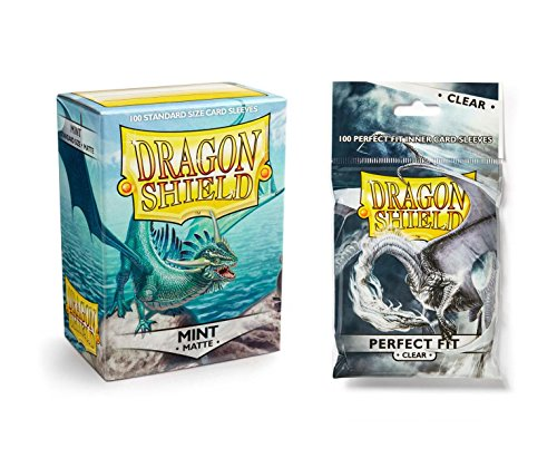 Dragon Shield Bundle: Matte Mint 100 Count Standard Size Deck Protector Sleeves + 100 Count Clear Perfect Fit Inner Card Sleeves by Dragon Shield