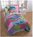 """Disney Inside Out Rainbow Patchwork  62"""" x 86"""" Reversible Twin Reversible Comforter"""