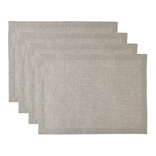 Solino Home 100% Pure Linen Athena Placemats, Set of 4 Natural Fabric Handcrafted Machine Washable Placemats, 14 x 19 Inch Natural (Athena Set Dining)