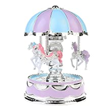 Carousel Horse Music Box With Colorful LED Light,Dome merry-go-round music box Kids Girls lovers Christmas Birthday Wedding Gift Toy Decoration. (purple)
