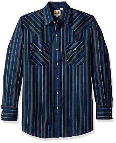 Ely & Walker Men's Long Sleeve Stripe Western Shirt, Navy, Large