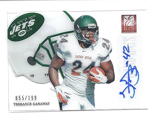 Bear Jet (TERRANCE GANAWAY 2012 Donruss Elite Hard Hats #53 Parallel AUTOGRAPH Rookie Card RC #055 of only 199 Made! Baylor Bears New York Jets Football)