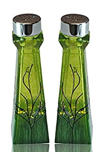 Glass Salt and Pepper Shakers Lime Green Set of 2