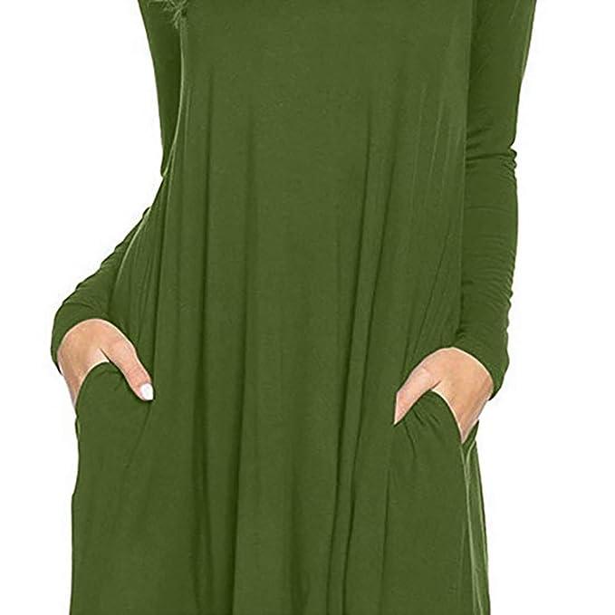 Hirolan Damen Enges Kleid Sommerkleid Rundhals Dress Bodycon ...
