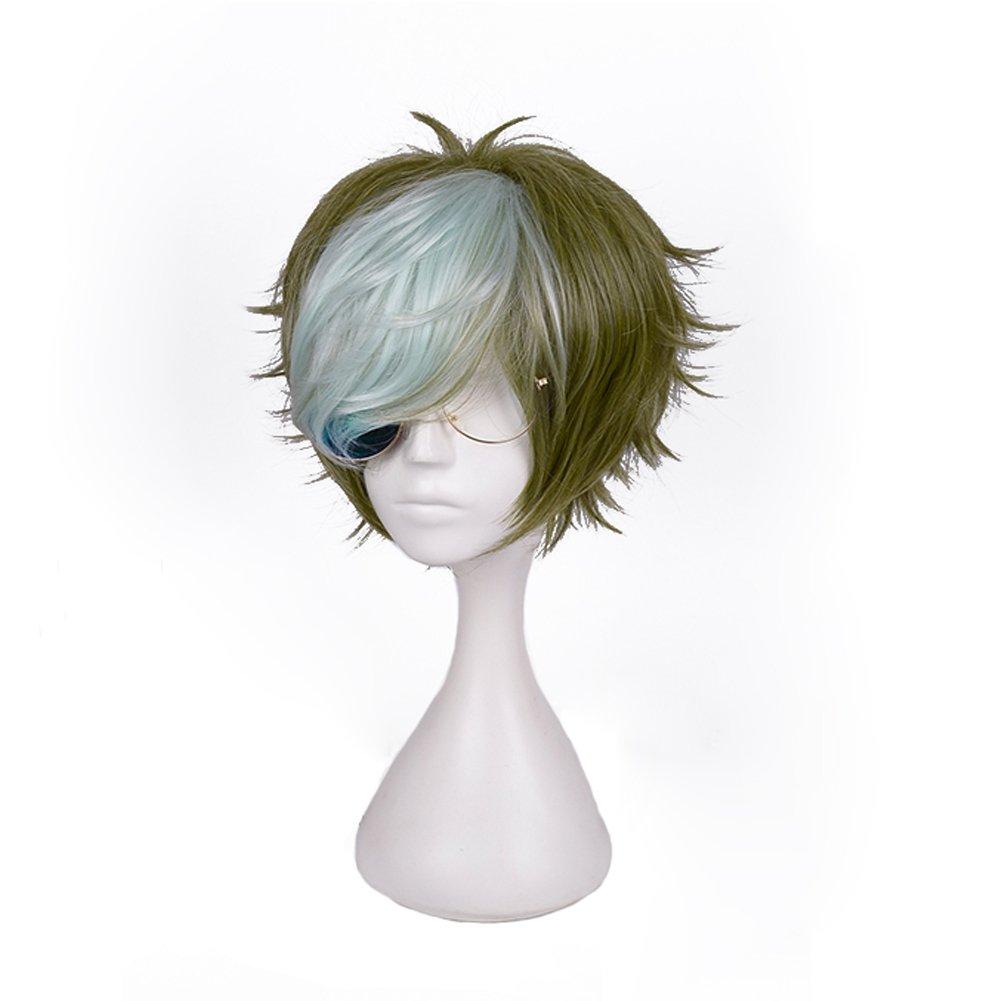 SUCNOS High Temperature Fiber full short cosplay wigs skill balls anime hair synthetic (Ikoma wig+glasses)