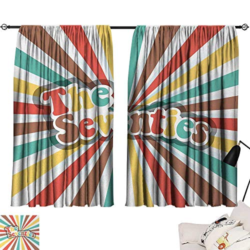 Jinguizi 70s Party Bedroom/Living The Seventies Retro Pastel Colored Typography Old Radial Backdrop Artwork Print Party Darkening Curtains Multicolor W55 x L39 by Jinguizi (Image #6)