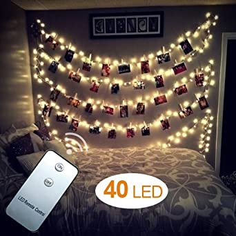 Websun 40 led photo clips string lights battery operated - How to hang string lights on wall ...