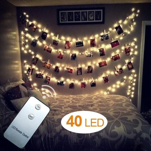 AOSTAR 40 LEDs Photo Clips String Lights (16.4ft, Warm White) Remote Control Fairy String Lights for Bedroom Hanging Photos, Cards and Artworks