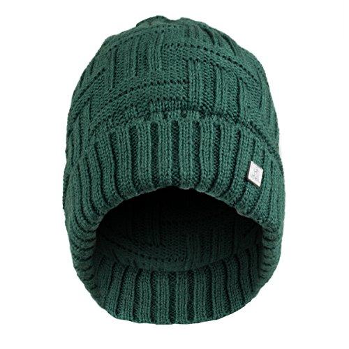 Olann Basket Weave Green Beanie - Irish Knit Beanie Hat Winter Warm Thick