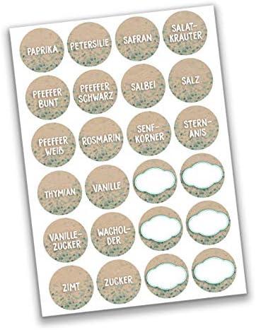 24 runde selbstklebende Gewürzetiketten/Gewürzaufkleber - Ideal für Gewürz-Regale, Dosen und Gläser - elegante, moderne und zeitlose Sticker Ø 4cm - Motiv Tafel Set 1