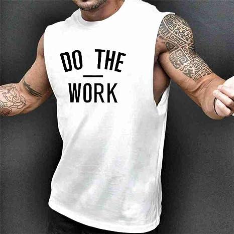 NSBXDWRM Tank Top Hombre,Verano Mens Camisetas Sin Mangas Camiseta De Algodón Blanco Hombres Camiseta Gimnasios Deporte Fitness Musculación Ropa,L: Amazon.es: Deportes y aire libre