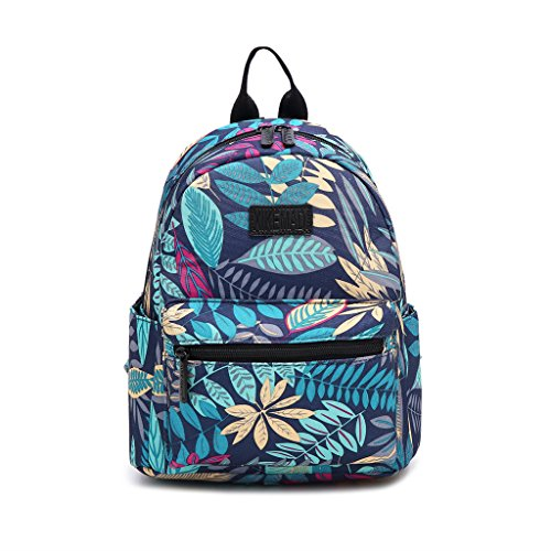 Fvstar Cute Children Canvas Backpack Mini School Bag Printing Purse Rucksack for Women Girls Teens Kids (Blue Leaves, S)