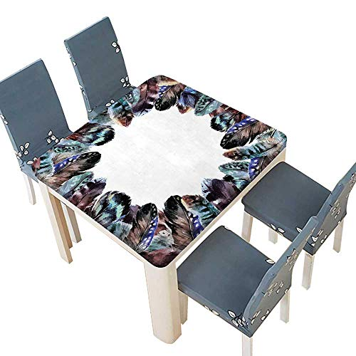 PINAFORE Polyester Tablecloth Decor Boho Circle Round Frame Shabby Ornate Feathers Retro Gypsy Art Decor Easy Care Spillproof 53 x 53 INCH (Elastic Edge)