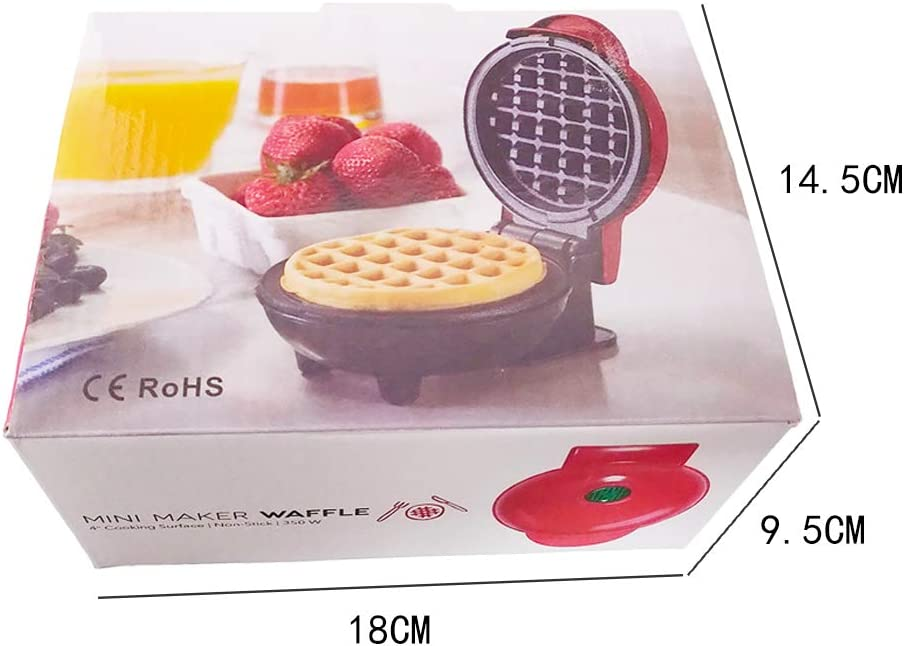 Non Stick Pancake Maker,Easy to Use and Clean Red-EU MJTP Electric Waffle Maker Iron,Mini Cake Waffle Machine for Paninis