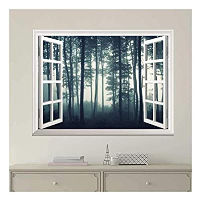 Incredible Piece, With a Professional Touch, White Window Looking Out Into a Dark Foggy Forest Wall Mural
