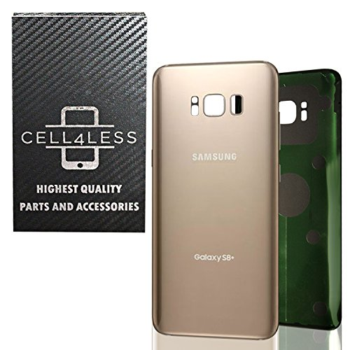 (CELL4LESS Replacement Back Glass Cover Back Battery Door w/Pre-Installed Adhesive for Samsung Galaxy S8 Plus OEM - All Models G955 All Carriers- 2 Logo - OEM Replacement (Maple Gold) )