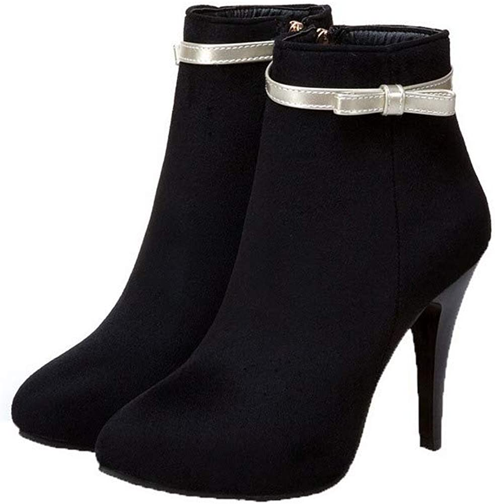 AllhqFashion Womens Frosted Closed-Toe Assorted Color Low-Top High-Heels Boots FBUXD028406