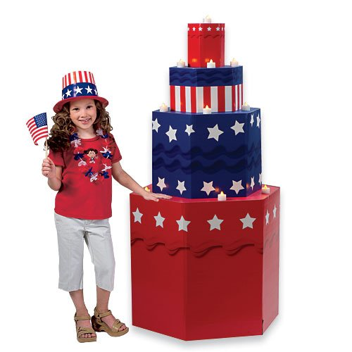 - Patriotic USA Cake Standup Photo Booth Prop Background Backdrop Party Decoration Decor Scene Setter Cardboard Cutout