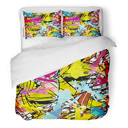 Tarolo Bedding Duvet Cover Set Colorful African Colored Abstract in Graffiti Red Argyle Arrows Aztec Black 3 Piece Queen 90