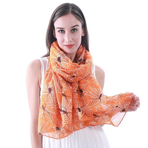 Lina & Lily Halloween Spider and Web Print Women's Large Scarf (Orange)]()