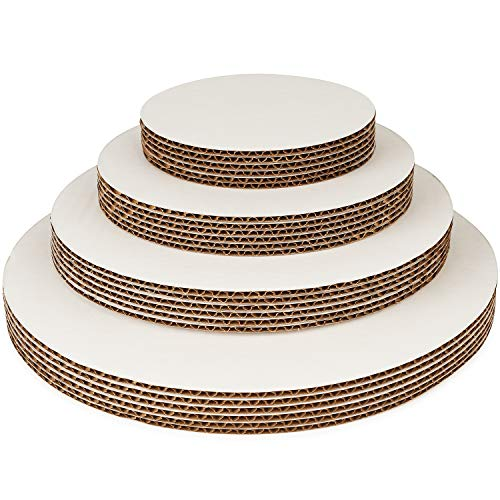 - Round Cake Boards By Pro Dispose - Set Of 24 White Cake Circles - 6 Of Each Size Cake Rounds (6, 8, 10 & 12 Inches) - Ideal For Cake Decorating & Multi-Tier Stacked Cakes - Slip Resistant & Food Safe