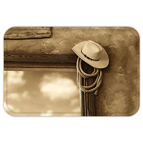 VROSELV Custom Door MatSaloon Decor Collection Cowboy Hat and Rope in the Saloon View from Window Cloudy Sky Summer Image Pattern Sepia Cream (Saloon Window)