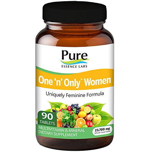 Pure Essence Labs One N Only Multivitamin for Women - Natural One a Day Herbal Supplement with Vitamin D, D3, B12, Biotin - 90 Tablets (Essence Day)