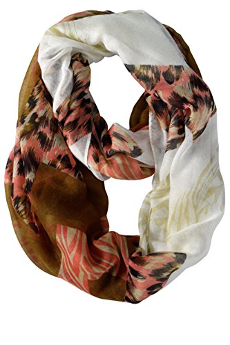 Spring Fashion Mixed Animal Print Wide Chevron Design Infinity Loop Scarf (Pink & Brown)