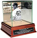 Mariano Rivera Side View with facade Background Glass Single Baseball with Yankee Stadium Authentic Dirt Nameplate
