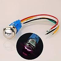 Gebildet 12 V-24 V/5A 16 mm förledningar momentan högtalare horn tryckknapp vattentät metallomkopplare med rött LED-ljus…