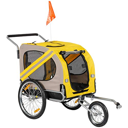 BuyHive Pet Bike Trailer Dog Cat Bicycle Carrier Stroller Jogger Shopping Cycling Wagon (Yellow) from BuyHive