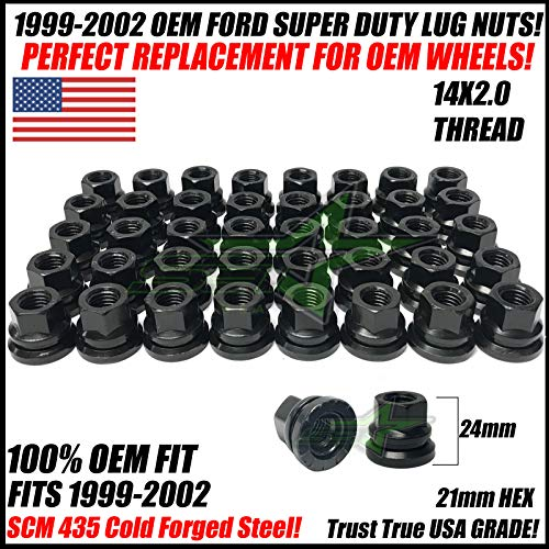 SET Group USA 32Pc Factory OEM Lug Nuts 14x2.0 Compatible with Ford F-250 F-350 Excursion Super Duty 1999-2002