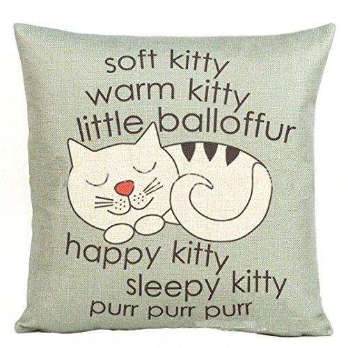 Happy Sleepy Kitty Print Cat Pillowcase Cushions Sofa Decorative Gift 18x18inch by Vibola (Gray)