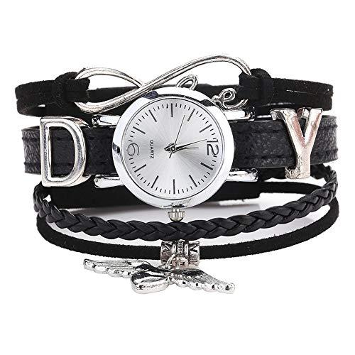 soAR9opeoF Quartz Wrist Watch,Multilayer Letter Angel Wings Heart Braided Bracelet Women Quartz Wrist Watch Black