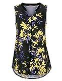 Gaharu Blouses for Women Fashion 2018 Work, Summer Sleeveless V Neck Tunic Tank Comfy Flattering Curve Hem Chiffon Floral Shirts for Leggings Multicolor Black,Large