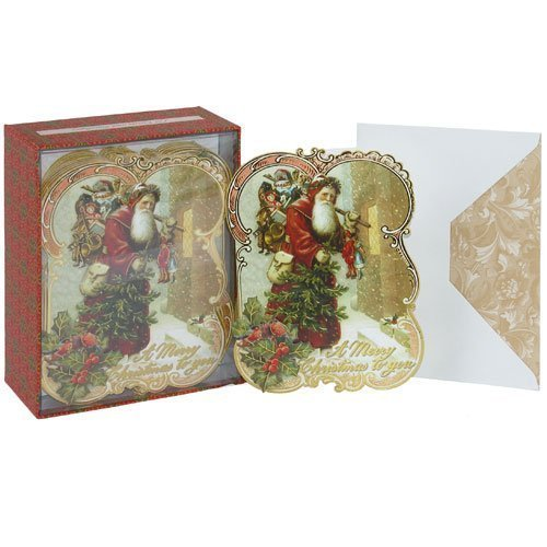 Punch Studio Old World Santa Dimensional Holiday Greeting Cards - Set of 12 (57195) -