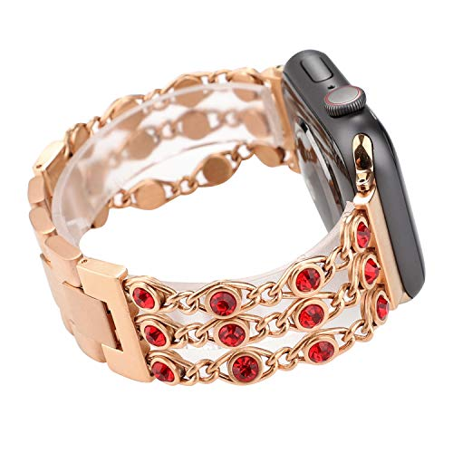 TCSHOW 44mm 42mm Luxury Jewelly Rhinestone Diamond Bling Stainless Steel Metal Watch Band Metal Clasp Classic Buckle Compatible for Apple iWatch Sport & Edition 44mm 42mm (rose gold+red diamond)